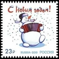 RUSSIA 2019 Stamp MNH VF ** Mi 2799 NEW YEAR NOUVEL AN NOUVELLE BONNE ANNEE NEUE JAHR NEUEM SNOWMAN MUSIC 2577 - Ungebraucht