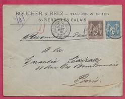 Pas De Calais-Enveloppe Avec Oblitération Calais R.D. Fondinettes - 1877-1920: Semi-Moderne