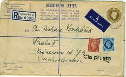 GB 1947 KGVI 4th Step Registered (H-size) Airmail Cover To Czechoslovakia - Briefe U. Dokumente