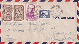 INDOCHINE - Lettre D'HANOI Avec Bel Affranchissement Pour La France Du 12/10/1947 YT  162B,167, 251 - Cartas