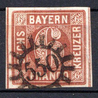 BAVIERE - (Royaume) - 1849-50 - N° 5 - 6 K. Brun-rouge - (Cercle Régulier) - Bayern (Baviera)