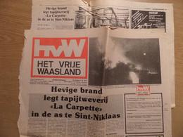 1977 SINT NIKLAAS - Artikel Uit Het Het Vrije Waasland - Brand Bij Tapijtweverij LA CARPETTE - - Aardrijkskunde & Geschiedenis