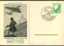 """1938, Privatganzsache Zur Briefmarkenschau """"Tag Der Briefmarke"""" In DESSAU - Enteros Postales"""