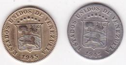 Venezuela 2 Pièces De 5 Centimos 1946 Différentes. Couleur Et Poids - Venezuela