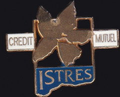 68279- Pin's.Banque Crédit  Mutuel.Istres.signé Ballard Doré Or Fin. - Banks