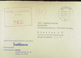 """Fern-Brf Mit Rotem ZKD-Kastenstempel """"GHG Textilwaren Wismar"""" Vom 12.3.62 An GHG Textilwaren Dresden-Neustadt - Service"""