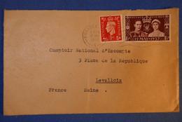 260 GRANDE BRETAGNE BELLE LETTRE 1937 SWANSEA A LEVALLOIS - Briefe U. Dokumente