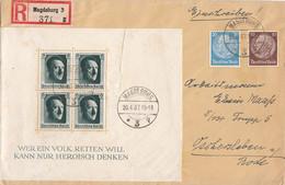 DR R-Brief Mif Minr.518,521,Block 7 Magdeburg 20.4.37 - Briefe U. Dokumente