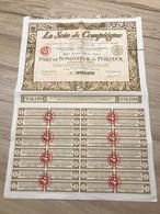 Part De Fondateur / La Soie De Compiègne / 1923 - Textil