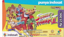 INDONESIA - Cartoon, Capcom World/Street Fighter II, Indosat Prepaid Card Rp 25000, Exp.date 31/12/09, Used - Comics
