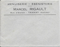 Enveloppe à En Tête - MENUISERIE - EBENISTERIE Marcel RIGAULT - Rue D'Enfer - TANNAY (Nièvre) - Ambachten