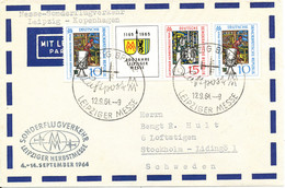 Germany DDR Air Mail Cover Sonder Flugverkehr Leipziger Herbstmesse Leipzig - Copenhagen 12-9-1964 - Cartas