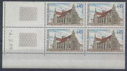 EGLISE De BROU N° 1582 - Bloc De 4 COIN DATE - NEUF ** - 4/2/69 - 1960-1969