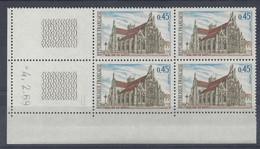 EGLISE De BROU N° 1582 - Bloc De 4 COIN DATE - NEUF ** - 4/2/69 2 Traits - 1960-1969