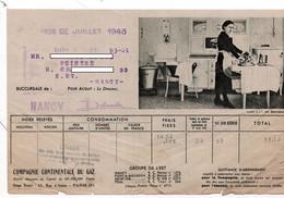 1943 - Quittance Illustrée - COMPAGNIE CONTINENTALE DU GAZ  - Succursale De NANCY - Electricidad & Gas