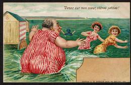 CPA Fantaisie - Venez Sur Mon Coeur, Chères Petites ! Gros Monsieur, Jeunes Filles à La Mer - 1908 Edit. V.G. Bruxelles - Sonstige