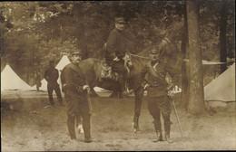Photo CPA Fontainebleau Seine Et Marne, Französische Soldaten In Uniformen, Pferd, Lager - Zonder Classificatie