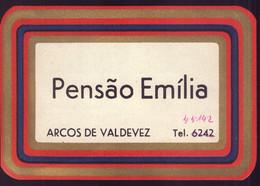 "Etiqueta / Rotulo De HOTEL ""Pensão Emilia ARCOS De VALDEVEZ"". Vintage HOTEL Luggage Label (Viana Do Castelo) PORTUGAL - Hotel Labels"