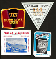 4 X Etiqueta Rotulo De HOTEL / Pensão  REGUA + VISEU + FUNCHAL + ALBUFEIRA. Set 4 Vintage HOTEL Luggage Labels PORTUGAL - Hotel Labels