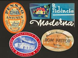 4 X Etiqueta Rotulo De HOTEL / Pensão  LISBOA + COLARES + COIMBRA + FATIMA. Set 4 Vintage HOTEL Luggage Labels PORTUGAL - Hotel Labels