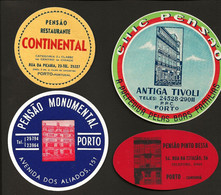4 X Etiqueta Rotulo De HOTEL / Pensão  PORTO. Set 4 Vintage HOTEL Luggage Labels PORTUGAL - Hotel Labels