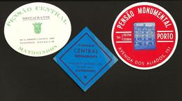 Conjunto De 3 Etiqueta Rotulo De HOTEL / Pensão  PORTO / MATOSINHOS. Set 3 Vintage HOTEL Luggage Labels PORTUGAL - Hotelaufkleber