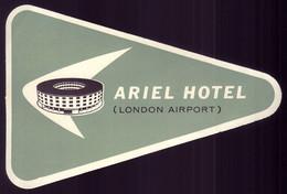 ARIEL HOTAL (London Airport - Heathrow). Original Vintage HOTEL Luggage Label - Hotel Labels