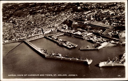 CPA St. Helier Jersey Kanalinseln, Harbour And Town, Blick Auf Den Hafen, Fliegeraufnahme - Other