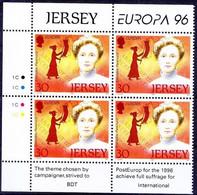 Emmeline Pankhurst, British Suffragette Mov. Leader, Europa 96, Jersey MNH Corner Blk 4, Colour Guide - 1996