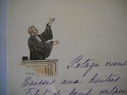 Menu Thème Justice , Juge  . Illustrateur Gilbert .  2 Photos . - Menus