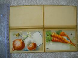 2 Menus Chromos Légumes , Oignons , Carottes Abeille . 2 Photos . - Menus