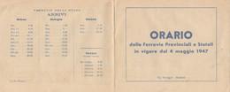 ORARIO FERROVIE PROVINCIALI E STATALI 1947 (XF381 - Europe