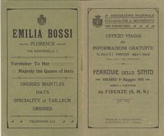 ORARIO FERROVIARIO 1911 ARRIVI E PARTENZE FIRENZE (XF389 - Europe