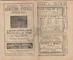 ORARIO DELLE FERROVIE 1933 CATANIA MESSINA PALERMO SIRACUSA (XF391 - Europe