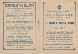 ORARIO FERROVIARIO FIRENZE 1920 (XF411 - Europe