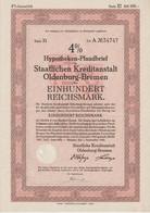 4% Hypotheken-Pfandbrief Der Staatlichen Kreditanstalt Oldenburg-Bremen RM 100,- Bremen, Den 1. September 1942 - S - V