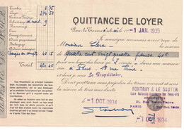 1935 QUITTANCE LOYER FONTRAY & SAUTER ECOLE NATIONALE SUPERIEURS DES BEAUX-ARTS ARCHITECTES 21 RUE SAINT-FIACRE PARIS - 1900 – 1949