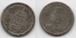 + PAYS BAS    + 25 CENTS 1917 + ARGENT  + - 25 Cent