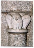 CPSM   87    SAINT LEONARD DE NOBLAT   -    CHAPITEAU DE DEAMBULATOIRE -     LA CHOUETTE - Sculptures