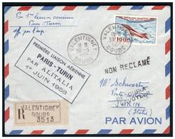 1 Ere Liaison Aérienne PARIS TURIN Du 1 Juin 1958 - 1927-1959 Covers & Documents