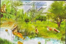 MOROCCO, 2020 , MNH, WORLD ENVIRONMENT DAY, FISH, FOXES, MONKEYS, MOUNTAINS, WATERFALLS, S/SHEET - Umweltschutz Und Klima