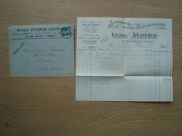 ENVELOPPE + DOCUMENT BOUGIE POGNON LEON ALBERT AUTOMOBILES PARIS 1912 - 1877-1920: Semi Modern Period