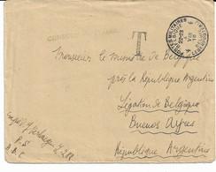 Lettre P.M.B. N° 4 Du 4/8/1918 Vers BUENOS AYRES - Griffe Verte Censure Militaire - Army: Belgium