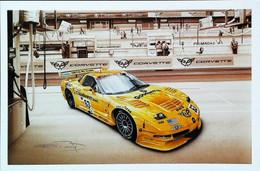 ► CORVETTE   C5 R - 24 Heures Du Mans 2002 -   Automobile Chevrolet (Litho. François BRUERE) - Le Mans