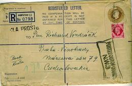 GB 1947 Registered H-size Envelope 6th Step Surface Mail To Prague Czechoslovakia - Briefe U. Dokumente
