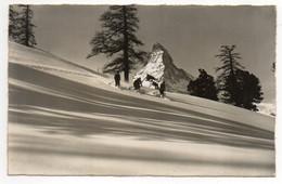 CPA   ZERMATT     1953     RIFFELALP UND MATTERHORN  -      DESCENTE DE SKIEURS - VS Valais