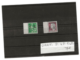 SURCHARGE EA 1962/63 ORAN 9  481   9  482 - Algerien (1962-...)