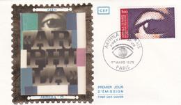 1er Jour Fdc N°1830 Arphila 75 Oeil 1er Mars 1975 Paris - 1970-1979