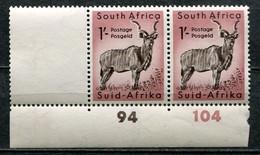 South Africa Südafrika Union Mi# 247 Postfrisch/MNH - Fauna Kudu Antilope - Part Sheet Cylinder Number Pair - Ongebruikt