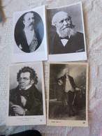 BAC - 3 CARTES PHOTOS 1 CPA MUSICIENS SCHUBERT - BORODINE - GOUNOD - MOZART - Zangers En Musicus
